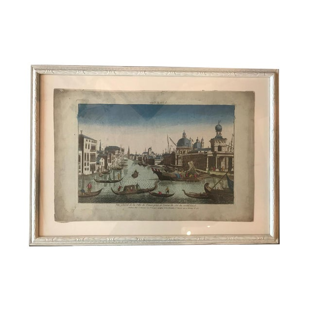 18th Century Vue D'Optique Hand-Colored Engraving of the Grand Canal, Venice For Sale - Image 9 of 10