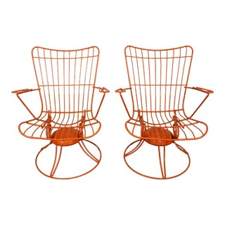Pair of Mid-Century Modern Homecrest Bottemiller Swivel Rocker Lounge Chairs For Sale