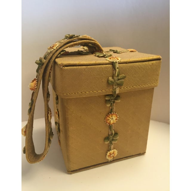 Lulu Guinness Gold Silk Box Bag With Ribbon Flower Trim For Sale - Image 10 of 11