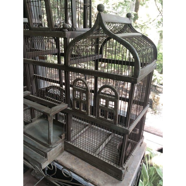 Gray Antique Victorian Iron Wire & Wood Mansion Style English Folk Art Bird Cage For Sale - Image 8 of 13