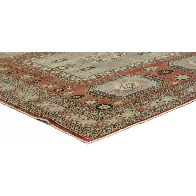 """Distressed Turkish Mid-Century Modern Style Square Rug - 4'3"""" x 4'5"""" - Image 2 of 7"""