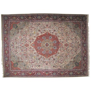 """Persian Beige & Red Tabriz Wool Rug - 10' x 13'6"""" For Sale"""