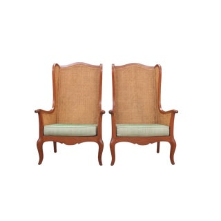 1980s Vintage Custom Made Double-Cane Wingback Chairs- A Pair For Sale