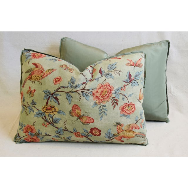 "Designer Jasper Wallace Floral Vine Feather/Down Pillows 23"" X 16"" - Pair For Sale - Image 10 of 13"