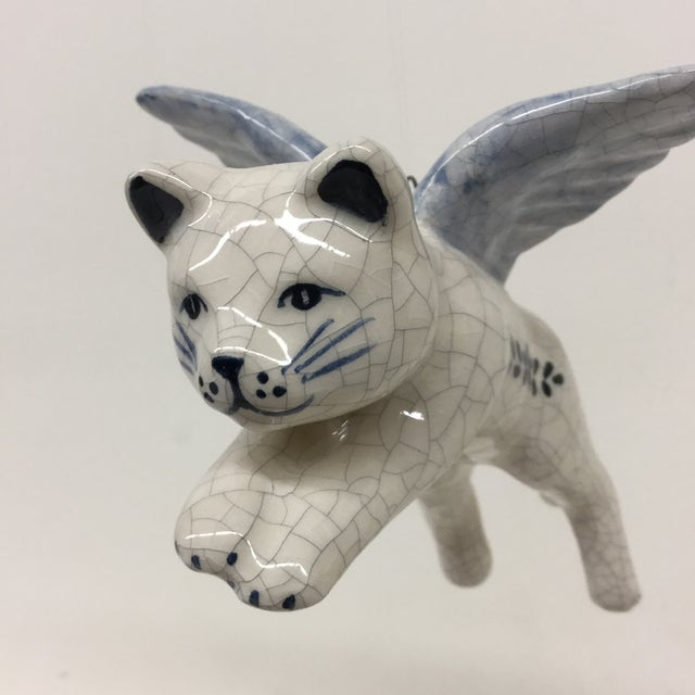 Hand Painted Artisan Ceramic Flying Cat Ornament For Sale In Boston - Image 6 of 11