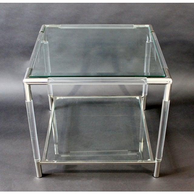 Metal Mid-Century Modern Charles Hollis Jones Era Chrome Lucite Glass Coffee Table For Sale - Image 7 of 9
