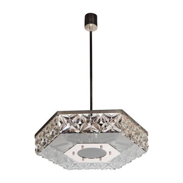 Mid-Century Modernist Faceted Crystal Hexagonal Chandelier by Kinkeldey For Sale - Image 10 of 10