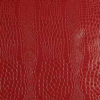 Sample - Schumacher Crocodile Wallpaper in Crimson For Sale