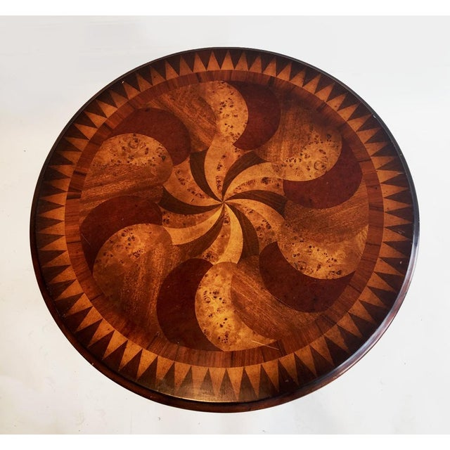 Wood Inlay Side Table - Image 4 of 4