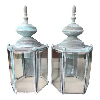 Patinated Iron and Glass Panel Wall Lanterns-A Pair For Sale