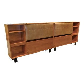 1950s George Nelson for Herman Miller Mid Century Modern Walnut King Headboard Cabinets - a Pair For Sale