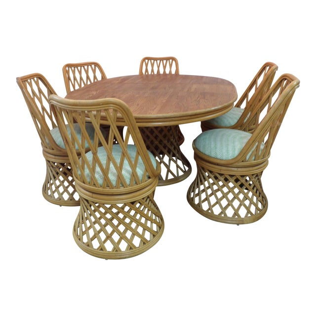 Vintage Rattan Dining Set - 7 Pieces For Sale