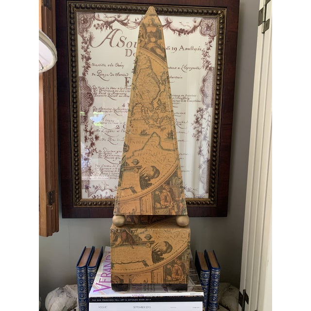 Papier mâché on wood pyramid with Antique world map. Beautiful sepia color.
