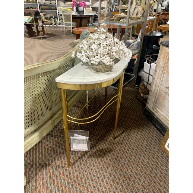 Metal Mid Century Italian Brass Demilune Console With White Marble Top For Sale - Image 7 of 12