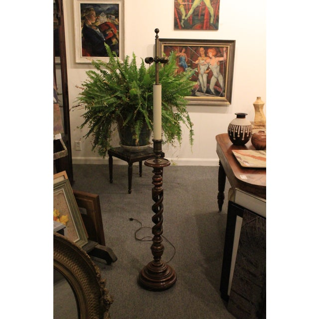Wood Tall Vintage Spiral Floor Lamp For Sale - Image 7 of 7