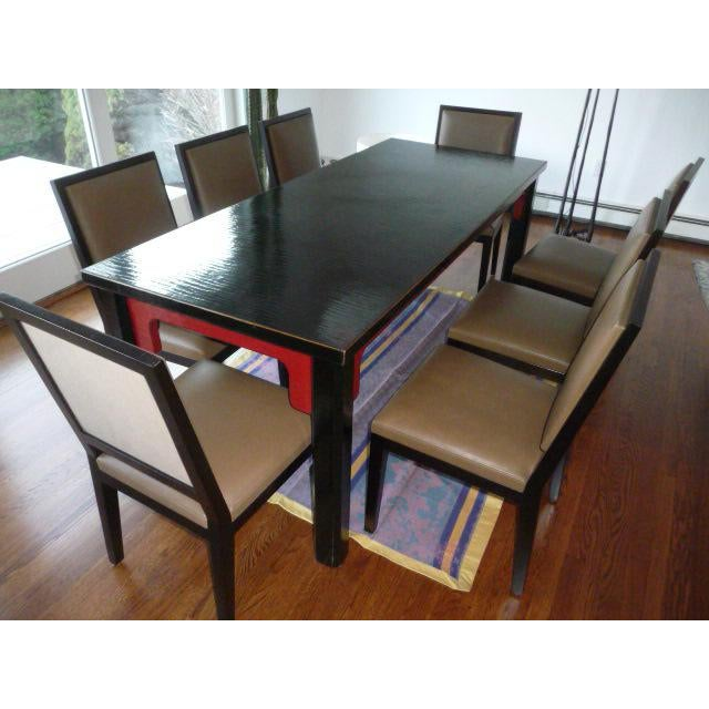 Black And Red Lacquer Chinese Dining Table Chairish