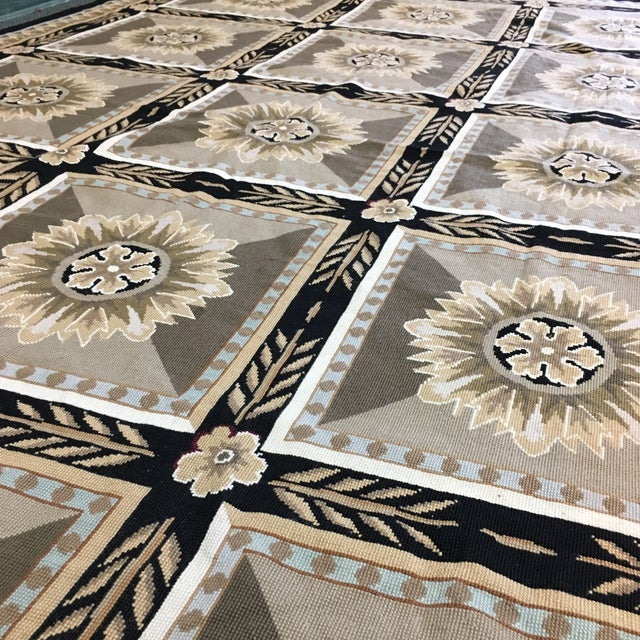 French Hand Woven Aubusson Needlepoint Area Rug - 5′5″ × 9′8″ - Image 10 of 11