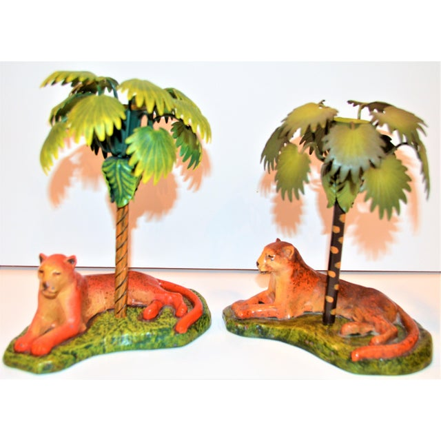 Vintage Art Deco Metal Leopard and Palm Tree Candleholders - a Pair - a Pair For Sale - Image 4 of 7