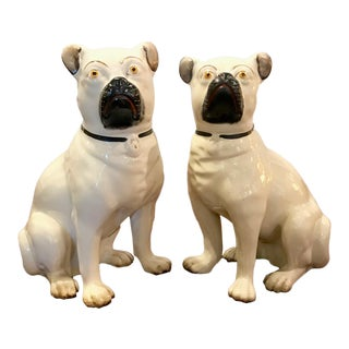 Pair Staffordshire 19th Century Pugs For Sale