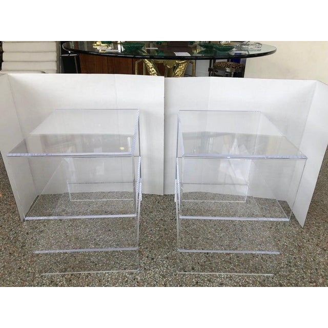 Plastic Floor Sample Lucite Nightstands Beveled Top Edges the Pair - Night Stands For Sale - Image 7 of 10