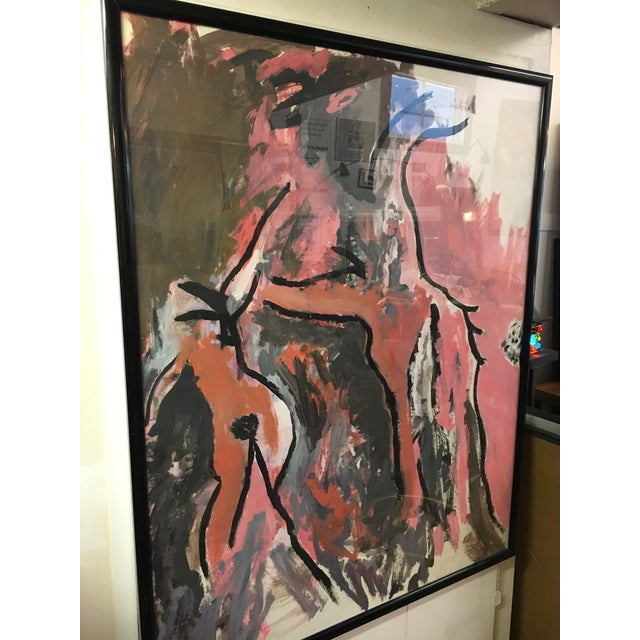 Vintage abstract figurative painting on paper. Depicts to figures in multiple tones of pink with grey and ebony lines,...