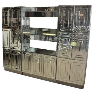 Spectacular Mid-Century Mirrored Dry Bar by Ello For Sale