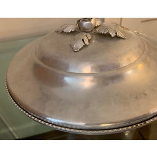 1950s Vintage Continental 'Hana Wrought' Hand-Forged Aluminum Lidded Bowl With Floral Leaf. & Bud Handle Preview