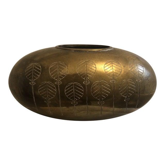 Vintage Mid-Century Solid Brass Etched Vase For Sale