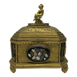 Antique Italian Gilt Jewelry Box For Sale