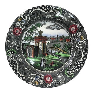 Antique English Polychrome Transferware Plate For Sale