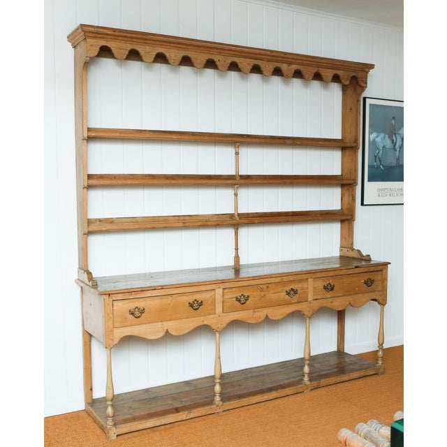 19th Century Classic English Pine Cupboard With Pot Board Dresser For Sale - Image 11 of 11