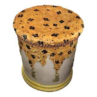 Italian Terracotta Round Painted Garden Seat End Table With Stylish Animal Print For Sale