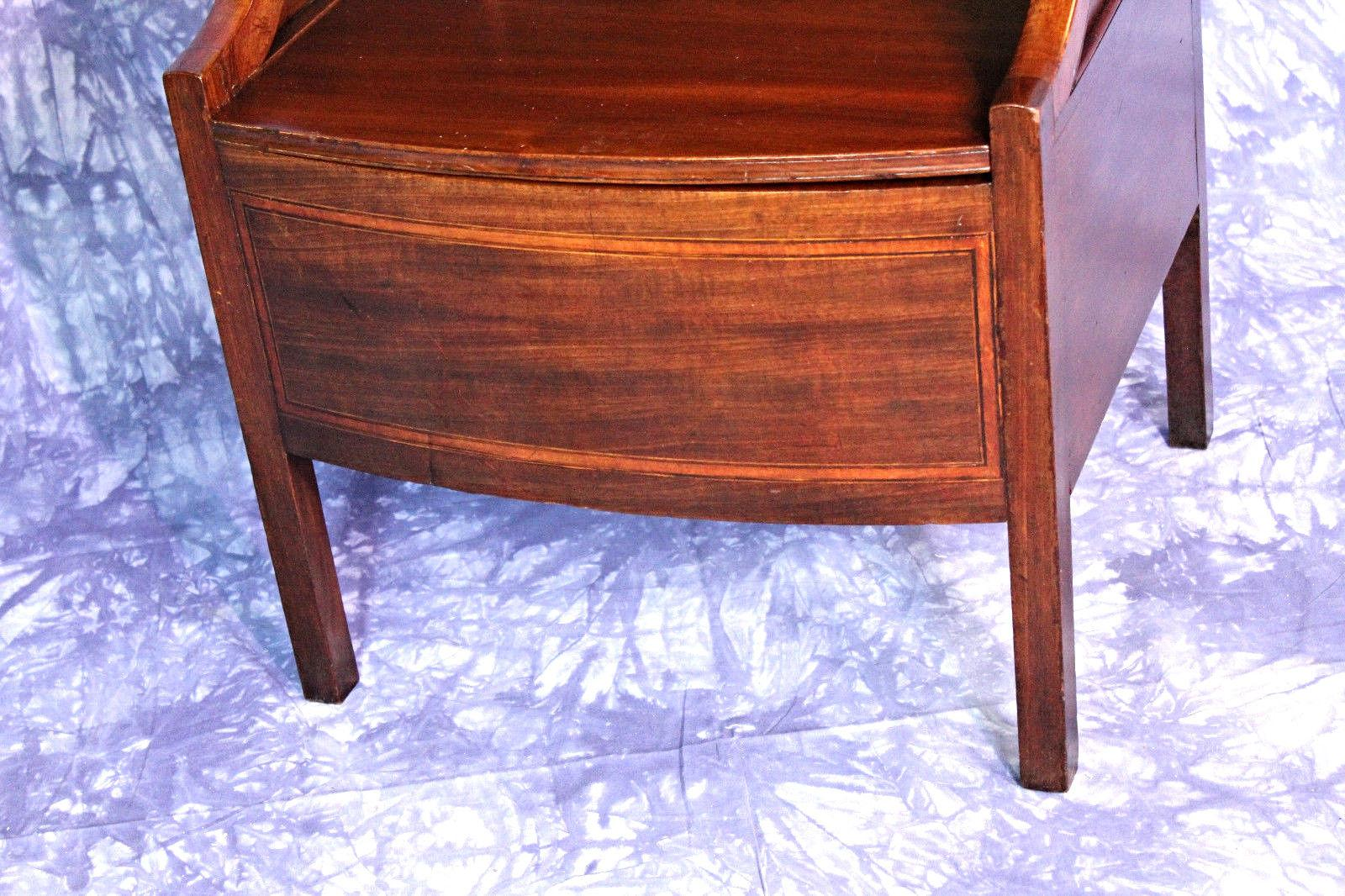 1840 Antique English Mahogany Commode Nightstand End Side Table