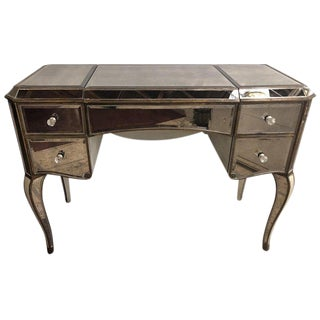 Hollywood Regency Style Mirror Flip Top Vanity Desk or Dressing Table For Sale