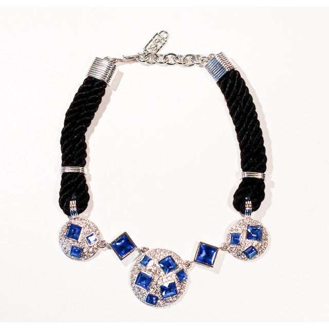 Circa 1990 Yves Saint Laurent Blue Rhinestone, Silk and Silver-Toned Metal Necklace For Sale In Richmond - Image 6 of 8