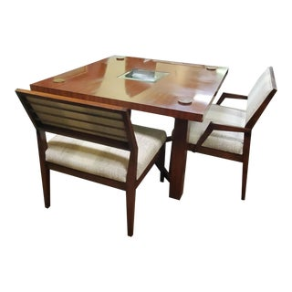 Henredon Furniture Venue Walnut Mid-Century Modern Square Dining Table Set For Sale