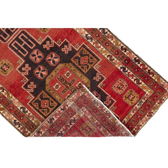 """Red Apadana - Vintage North West Persian Rug, 4'7"""" X 11'3"""" For Sale - Image 8 of 9"""