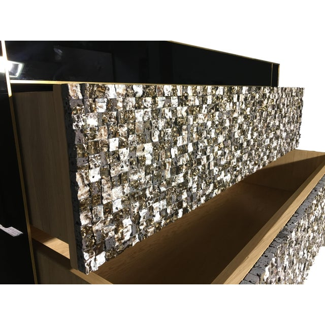 Handmade Mirrored Commode or Chest of Drawers, Volcanic Rock and Brass Inlay For Sale In Miami - Image 6 of 7