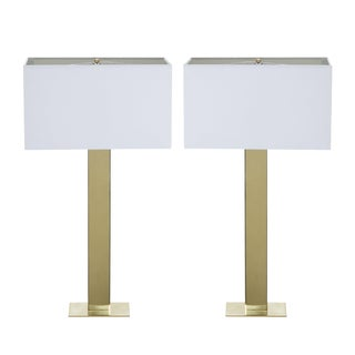 Polished Brass Buffet Lamps, Pair For Sale