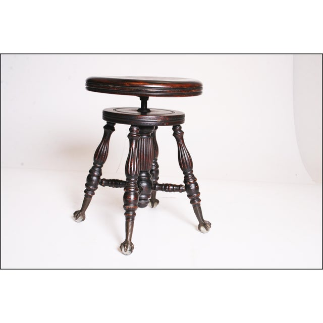 Victorian Wood Swivel Piano Stool with Ball & Claw Feet For Sale - Image 5 of 11