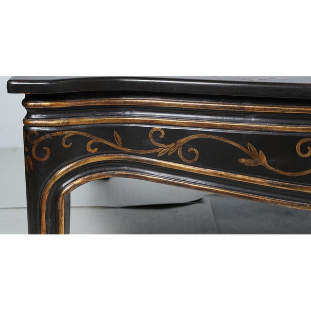 Rose Tarlow Rose Tarlow Black & Gold Chinoiserie Decorated Coffee Table For Sale - Image 4 of 5