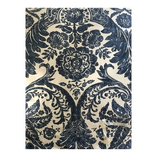 Scalamandre Luciana Damask Linen Print Denim Fabric - 4 Yards For Sale