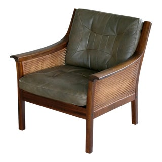 Lounge Chair in Beech and Olive Leather With Woven Cane by Torbjorn Afdal For Sale