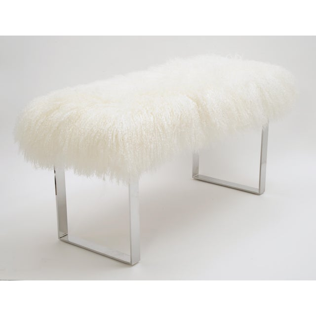 Skinny Curly BeBe Bench, Bright White. Tibetan Lamb Please allow 4 weeks before the item ships.