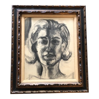 Original Vintage Female Portrait Charcoal Study Drawing Carved Mid Century Frame For Sale