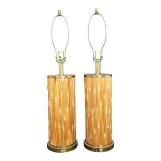 Vintage Mid Century Modern Split Bamboo & Brass Table Lamps - A Pair For Sale