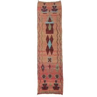 1970s Vintage Boujad Tribal Runner- 2′7″ × 9′6″ For Sale