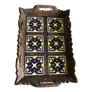 Vintage Wood & Tiles Tray For Sale