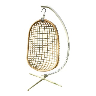 Mid-Century Modern Rattan Hanging Egg Chair