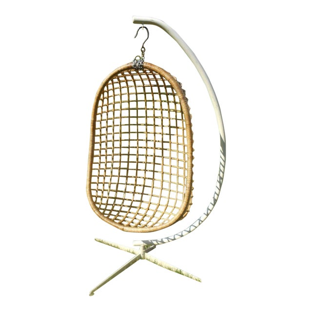 Mid-Century Modern Rattan Hanging Egg Chair For Sale